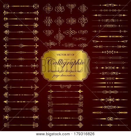 Vector set of golden calligraphic dividers and decorative elements for design and page decoration