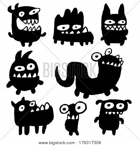 Funny Cartoon Black Flat Monsters Isolated Vector Illustration. Aliens Look Like Mutant Bugs Germs. Cheerful Collection Creatures for Web Icons and Shirts. Pictures for Kids.