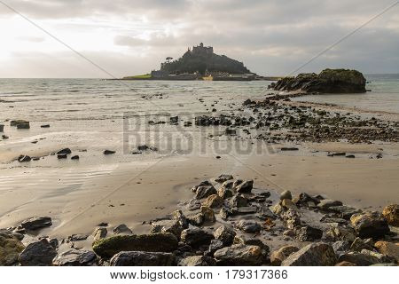 View from Marazion Beach of St Michaels Mount at high tide. Cornwall England United Kingdom