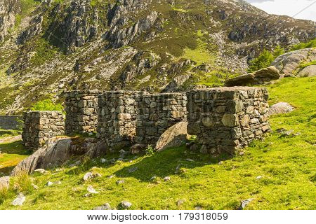 Line of anti tank cubes. Nant Ffrancon Pass Idwal Cottage Snowdonia National Park Gwynedd Wales United Kingdom