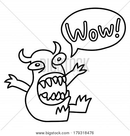 Wow! Cartoon monster screaming . Speech Bubble. Vector illustration. Funny cute emoticon character.