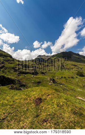 View from Idwal Cottage of mountain Y Garn. Idwal Cottage Snowdonia National Park Gwynedd Wales United Kingdom.