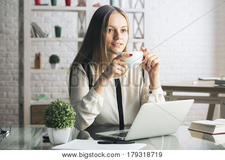 Attractive Lady In Office