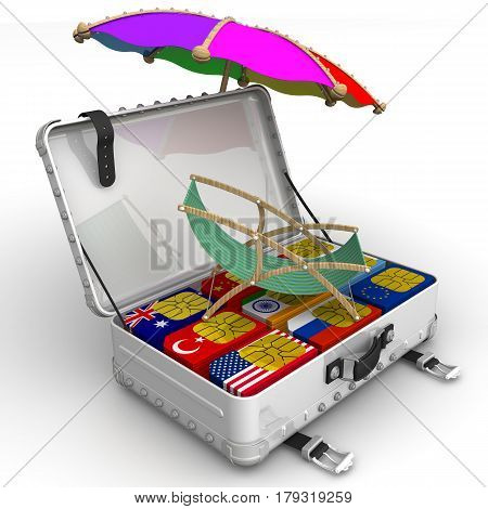 SIM-cards for travel. A suitcase filled with SIM cards with the image of flags of States sunbed and umbrella. Isolated. 3D Illustration
