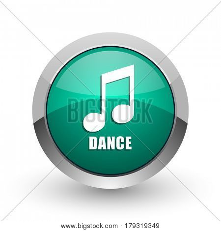 Dance music silver metallic chrome web design green round internet icon with shadow on white background.