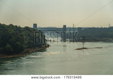 Britannia Bridge, Connecting Snowdonia And Anglesey In Summer Haze