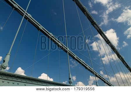 Chains Of The Menai Suspension Bridge Over Between Anglesey And Mainland Wales