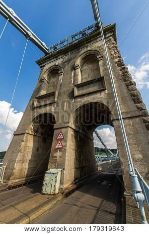 Tower Of The Menai Suspension Bridge Over Between Anglesey And Mainland Wales