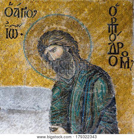 John the Baptist. A Byzantine mosaic in the interior of Hagia Sophia Istanbul Turkey - October 8 2013