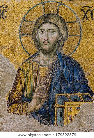 Jesus Christ a Byzantine mosaic in the interior of Hagia Sophia Istanbul Turkey - October 8 2013