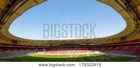 Stuttgart, Germany - September 2016: View on Mercedes Benz Arena - the official playground of FC Stuttgart
