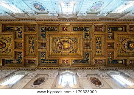 ROME - MAY 14, 2014: The ceiling of the Basilica di San Giovanni in Laterano (Papal Archbasilica of St. John Lateran) in Rome, Italy.This basilica is the most important in the Catholic world.