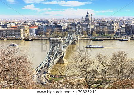 Chain bridge built in the mid-nineteenth century and at that time it was considered one of the longest in the world