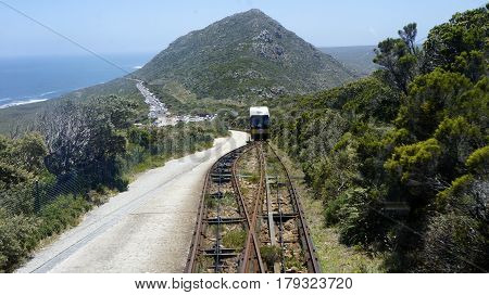 View of the mountain and the ocean and the uphill train