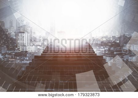 Front view of staircase on abstract bright city background with digital patter. Financial growth concept. Double exposure