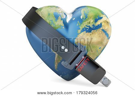 Heart world globe with safety belt safety and secure concept. 3D rendering isolated on white background