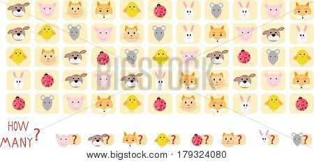 Math game puzzle count of animals vector innervation