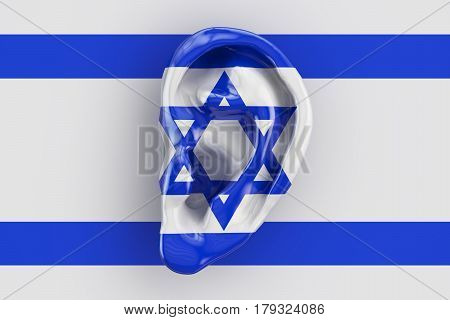 Israeli intelligence concept ear on the flag of Israel. 3D rendering