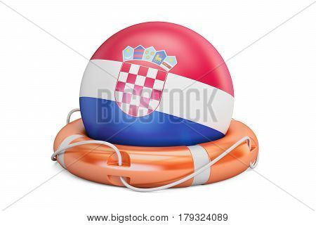 Lifebelt with Croatia flag safe help and protect concept. 3D rendering