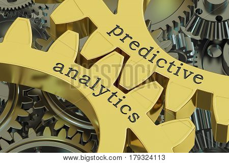 predictive analytics concept on the gearwheels 3D rendering