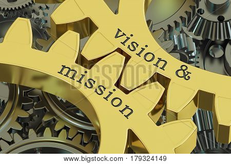 Vision & mission concept on the gearwheels 3D rendering