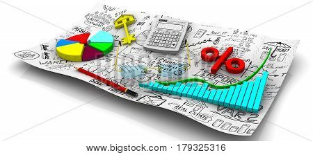 Charts of change data indicators electronic calculator a red pencil red symbol of percent round diagram gold key from house and glasses on the sheet of business sketches. Business still-life. Isolated. 3D Illustration