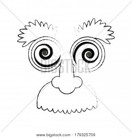 crazy googly eyes with nose and mustache toy costume icon image vector illustration design