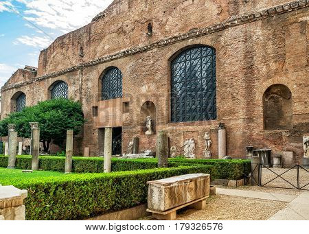 Ruins of the baths of Diocletian (Thermae Diocletiani) in Rome, Italy