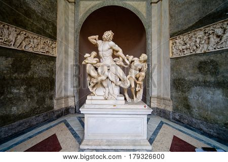 VATICAN - MAY 14, 2014: Laocoon and His Sons statue in Vatican Museum, Rome.