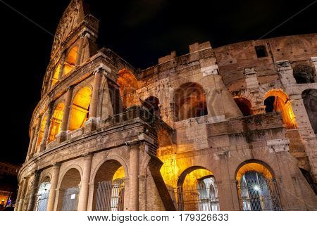 The Colosseum (Coliseum) at night, Rome, Italy