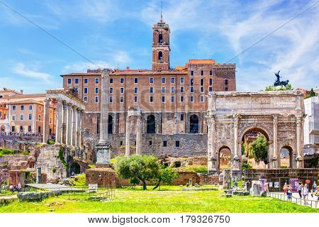 ROME - MAY 10, 2014: Roman Forum in sunny day. The Roman Forum is an important monument of antiquity and is one of the main tourist attractions of Rome.