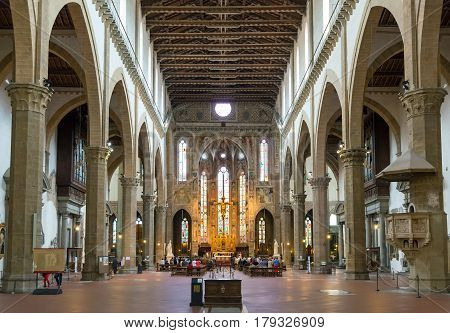 FLORENCE, ITALY - MAY 11, 2014: The interior of the Basilica of Santa Croce (Basilica of the Holy Cross) built in the 15th century. This is one of the main attractions of Florence.