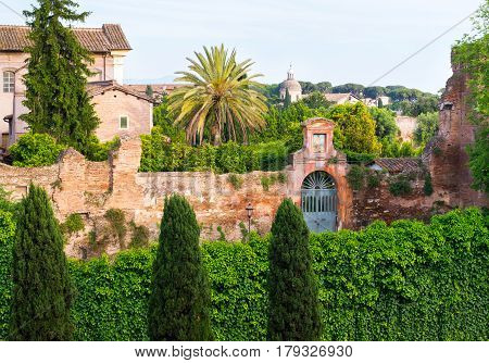Beautiful cityscape near the Palatine Hill in the center of Rome, Italy