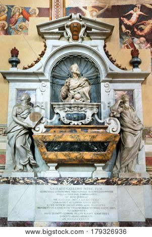 FLORENCE, ITALY - MAY 11, 2014: Tomb of Galileo Galilei in the Basilica of Santa Croce in Florence.