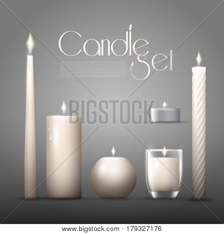 Realistic burning aromatic candles collection of different shapes on gray background isolated vector illustration