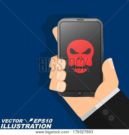 A man is holding a phone hacked in his hand. The red skull burns on the modern screen and indicates a serious danger. Illustration in a flat style