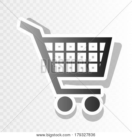 Shopping cart sign. Vector. New year blackish icon on transparent background with transition.