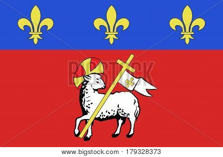 Flag of Rouen is a city on the River Seine in the north of France. It is the capital of the region of Normandy. Vector illustration