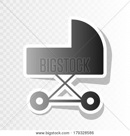 Pram sign illustration. Vector. New year blackish icon on transparent background with transition.