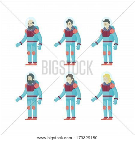 Colorful flat astronauts set with male and female cosmonauts in spacesuits on white background isolated vector illustration