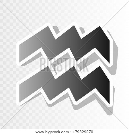 Aquarius sign illustration. Vector. New year blackish icon on transparent background with transition.