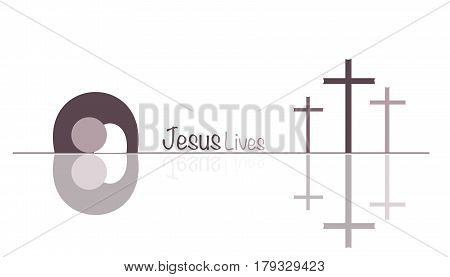 Easter. Jesus lives with crosses and empty tomb. Brown shade