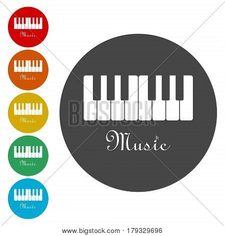 Music piano keyboard sign. Vector illustration on white background