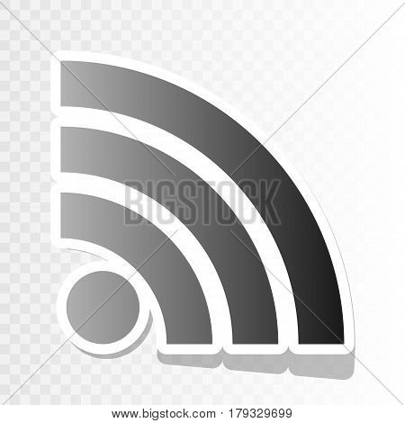 RSS sign illustration. Vector. New year blackish icon on transparent background with transition.