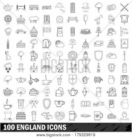 100 England set in outline style for any design vector illustration