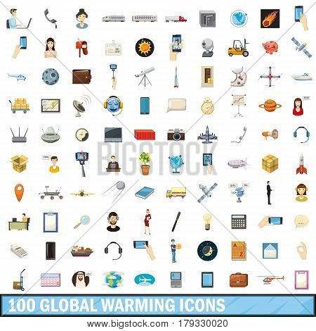 100 global warming icons set in cartoon style for any design vector illustration