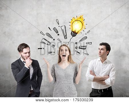 Woman With A Brilliant Idea And Her Colleagues