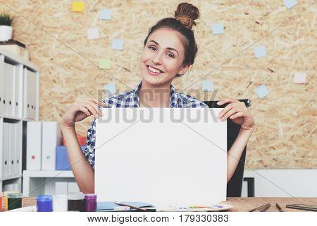 Cheerful Woman Designer At Work
