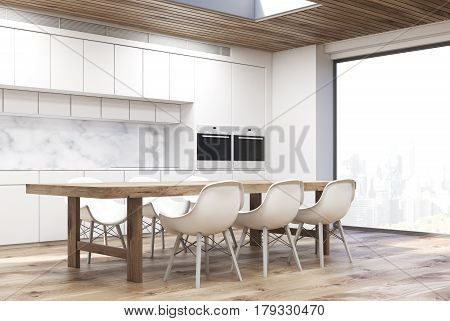 Marble kitchen with long table side, close up