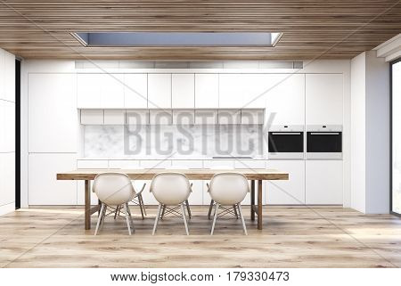 Marble kitchen with a long table, close up